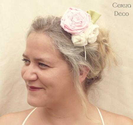 serre tête champêtre poudré fleur rose ivoire anis