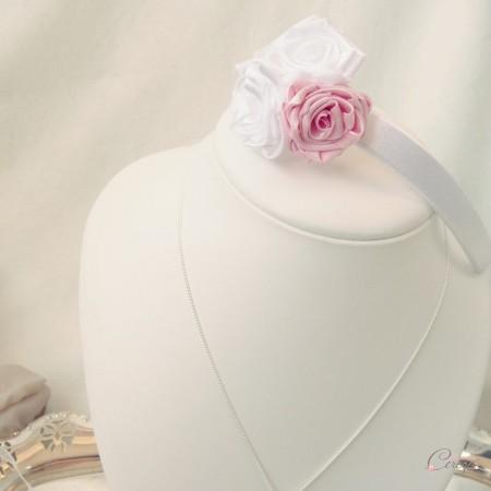 serre tete mariage bijou de cheveux fleur blanc rose satin cereza deco 3