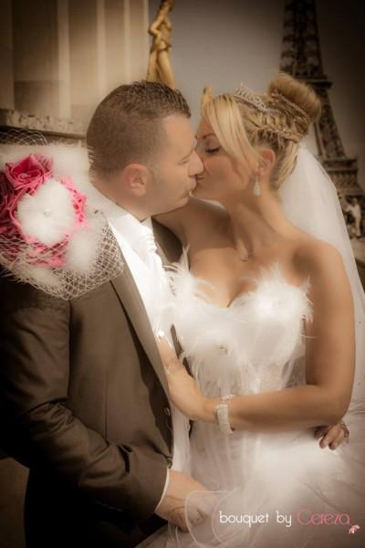mariage cabaret  plumes voilette real wedding bouquet de mariée original cereza deco blanc fuchsia  (27)