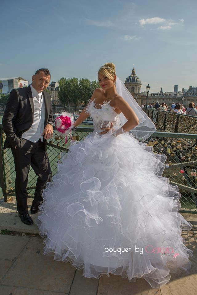 mariage cabaret  plumes voilette real wedding bouquet de mari
