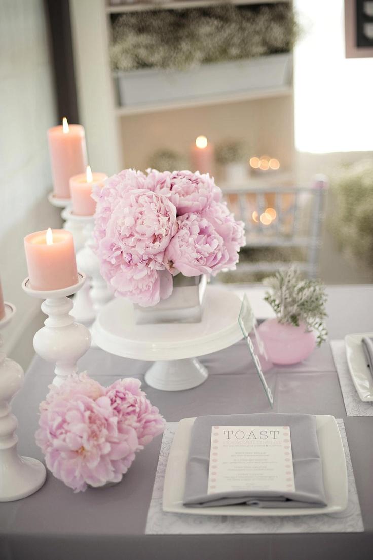 Bougie Décoration De Table idées mariage rose gris personnalisé : planche d'inspiration