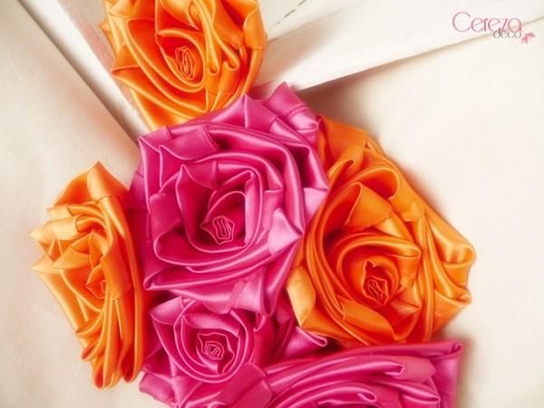 mariage boheme colore bouquet mariee tissu orange rose fuchsia