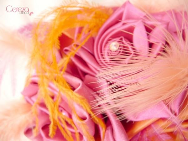 mariage colore boheme orange rose fuchsia bouquet tissu Mademoiselle Cereza Deco