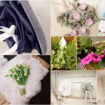 mariage bleu marine blanc personnalisé sur mesure bouquet mariée tissu éternel dentelle cereza deco