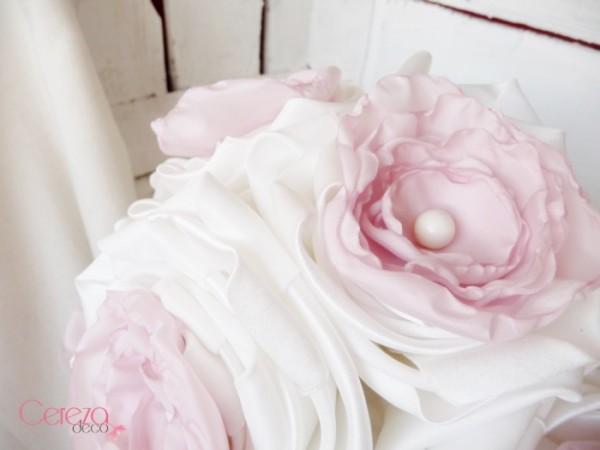 mariage rose poudre bouquet mariee tissu Mademoiselle Cereza Deco