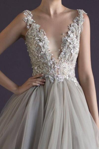 robe de mariée chic haute couture gris perle
