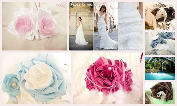 mariage d'été porte alliance rose blanc personnalisé bouquet plumes cereza deco