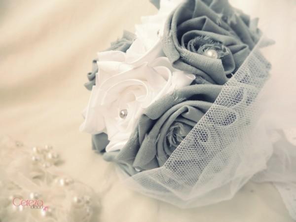 bouquet de mariage champetre chic tissu lin gris satin blanc Mademoiselle cereza deco