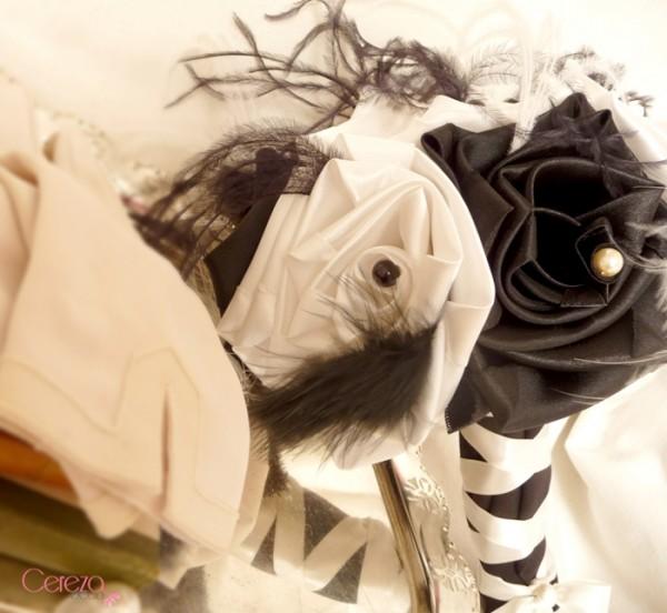bouquet mariée éternel à garder baroque plumes ivoire noir cereza deco 1