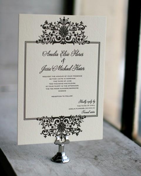 faire part mariage ivoire noir baroque ivoire ou blanc noir Mademoiselle Cereza blog mariage