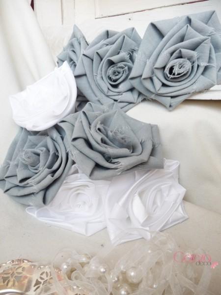 bouquet mariage champêtre tissu lin gris satin blanc cereza deco 2