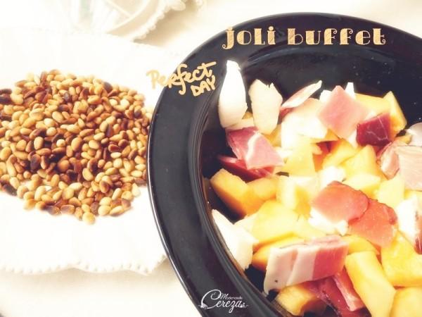 idée buffet froid mariage d'été recette melon jambon fumé pignon cereza 4