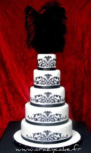 mariage baroque wedding cake gâteau noir blanc Mademoiselle Cereza blog mariage