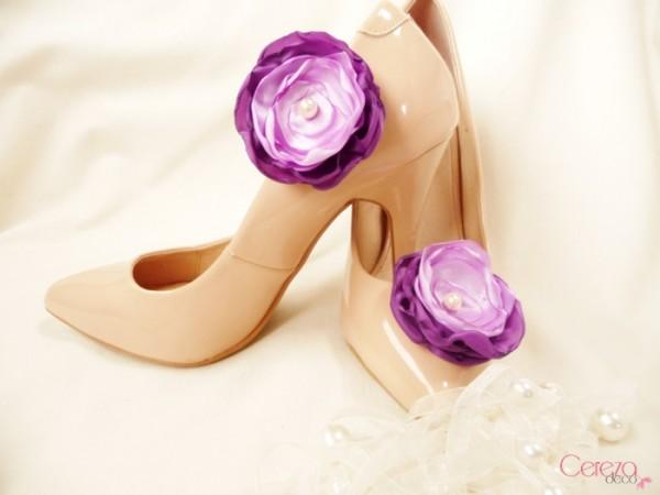 bijou de chaussures mariage violet parme clip customiser escarpins nude cereza deco 1