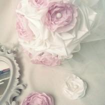 bouquet de mariee boutonniere & fleur coiffure ivoire rose poudre Mademoiselle Cereza deco 1