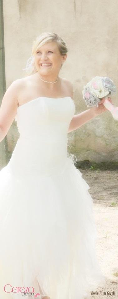 bouquet mariage original tissu lin gris perle satin ivoire touche rose cereza deco 3