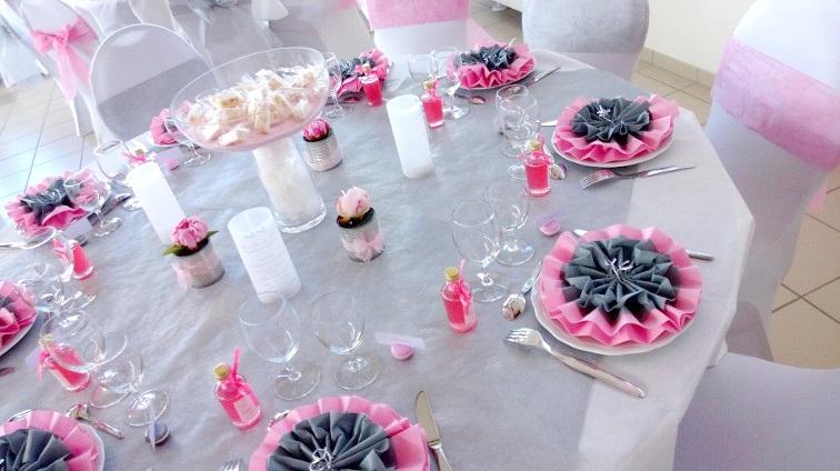Mariage rose ivoire et gris g raldine et ses petits - Deco table rose gris ...