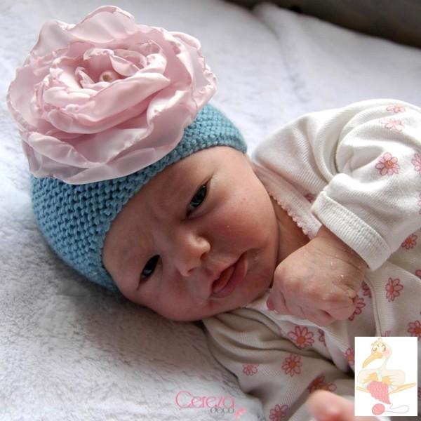 Clotilde bonnet bébé naissance grande fleur personnalisable cereza gazouillis 2b