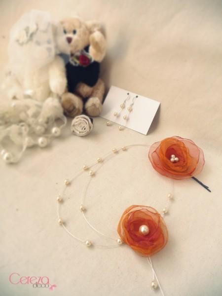 bijoux mariage collier boucle ornement floral mariage ivoire orange cereza