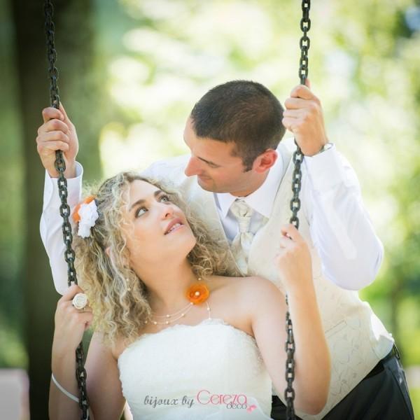 mariage orange beige bijoux mariage sur-mesure collier Mademoiselle Cereza deco 1