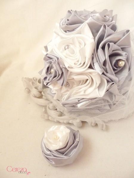 bouquet de mariee original ivoire gris éternel tissu cereza deco clemence 2