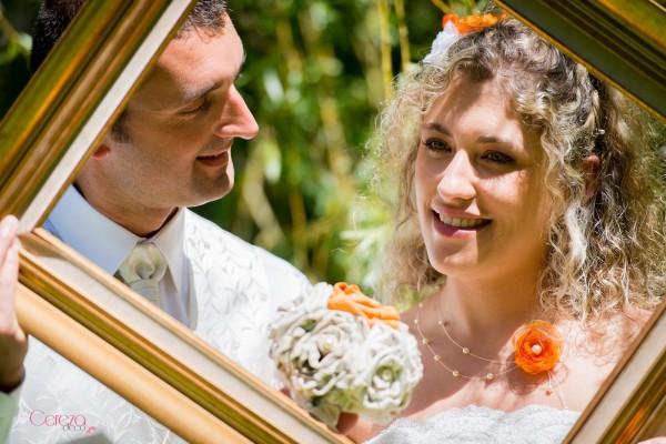 bouquet mariee tissu original Mademoiselle Cereza mariage orange ivoire beige bouquet de mariée tissu sur mesure bijoux mariage personnalises cereza deco