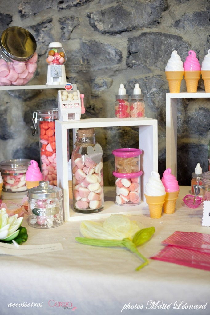 candy bar mariage romantique original blanc rose gris fuchsia cereza deco Mademoiselle Cereza blog mariage