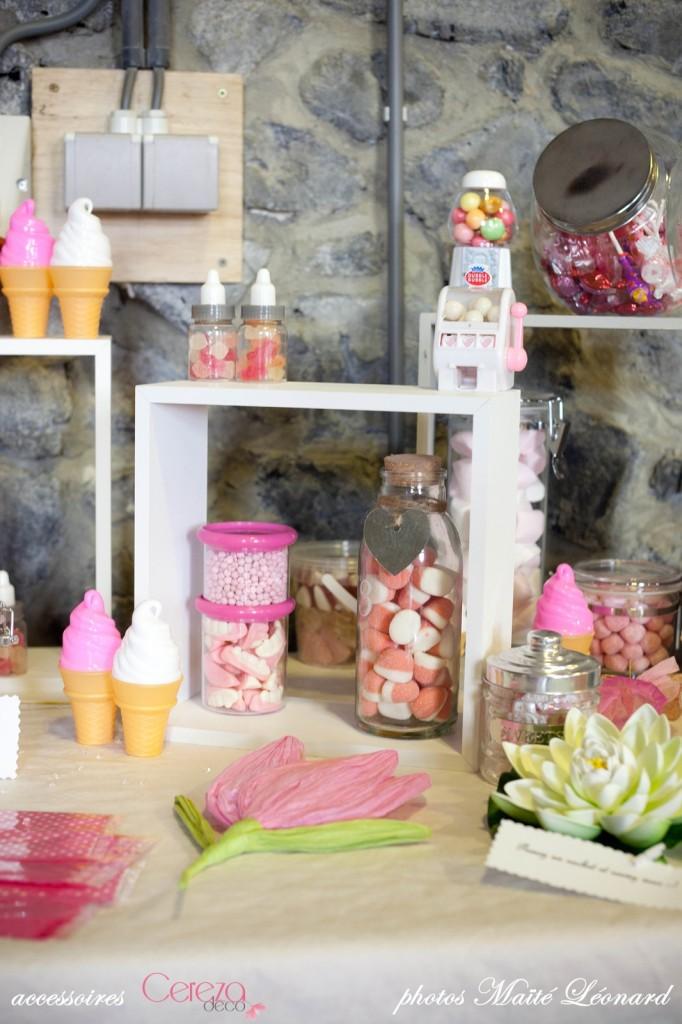 candy bar mariage romantique original blanc rose gris fuchsia cereza deco 2