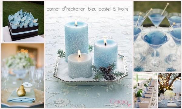 carnet d'inspiration mariage bleu ciel ivoire cereza deco