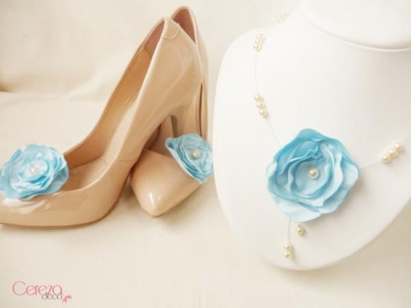 mariage ivoire bleu ciel perles & fleur bijoux  cereza deco
