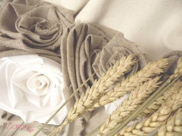 mariage champetre chic bouquet de mariee original lin beige satin blanc epi ble cereza deco
