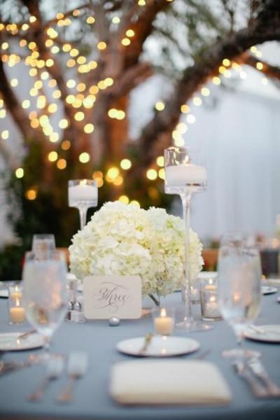 idée déco table mariage bleu ciel ivoire blanc bougie original chic