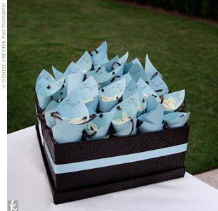 idée originale mariage bleu ciel ivoire blanc cone pour lancer de pétales de fleurs weddings theknot com