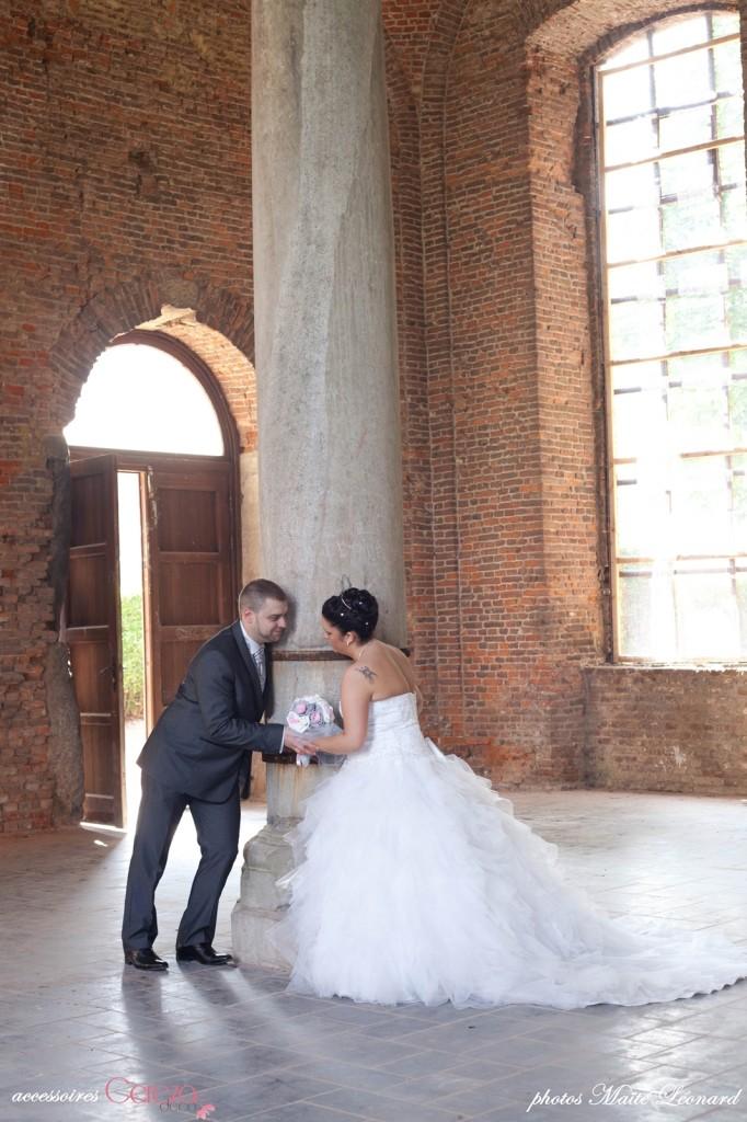 mariage romantique bouquet mariee original cereza deco rose gris blanc 1
