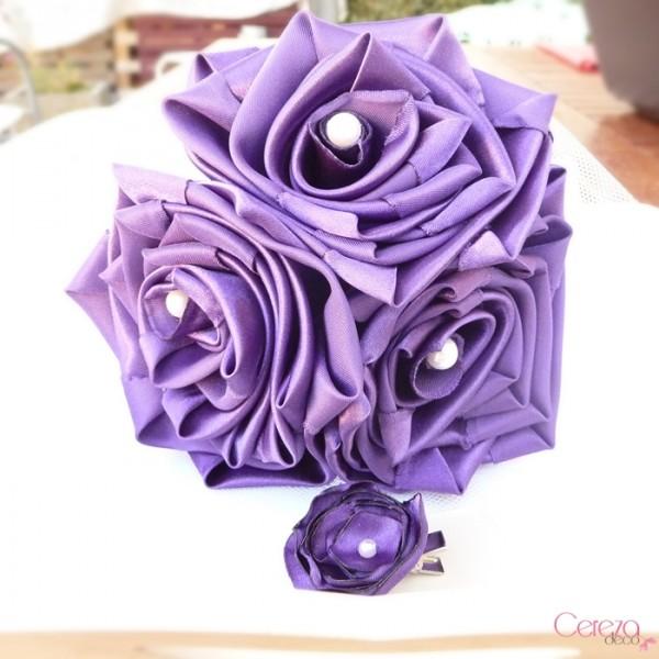 bouquet demoiselle honneur mariage violet blanc barrette fleur cereza 2