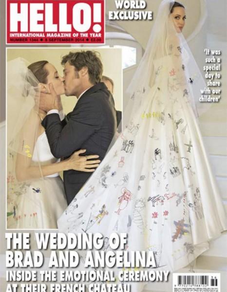 mariage angélina jolie brad pitt la robe & le voile customisé par ses enfants