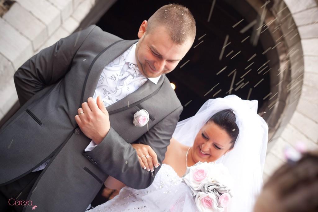 mariage romantique bouquet mariee original cereza deco rose gris blanc 2
