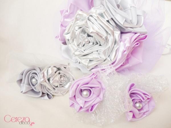 boutonnières mariage parme argent gris mauboussin bouquet mariee tissu bijou original cereza deco 15