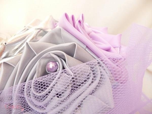 mariage parme argent gris mauboussin bouquet mariee tissu bijou original cereza deco 3
