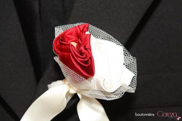 boutonnière mariage ivoire bordeaux original bijou chic boutonnière marié témoin invité ivoire bordeaux real wedding cereza deco (4)