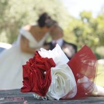 mariage ivoire et bordeaux bouquet de mariée original tissu bijou chic cereza