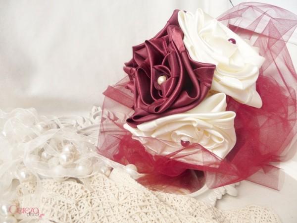 mariage ivoire bordeaux bouquet mariée original tissu bijou éternel cereza deco 8