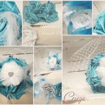 mariage turquoise blanc plumes strass cristal bijoux accesoires cereza