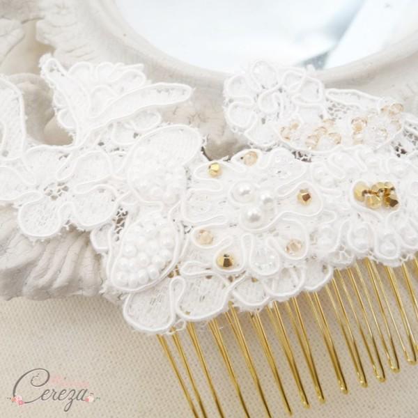 bijou de coiffure peigne mariée dentelle perles personnalisable mademoiselle cereza Paloma