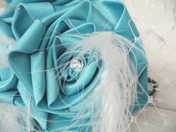 bouquet mariee original tissu plumes mariage turquoise blanc cereza