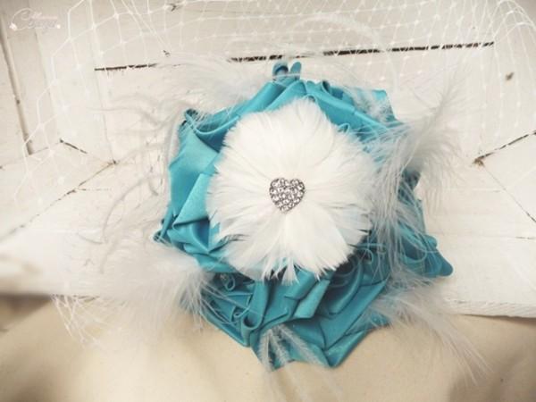 bouquet de mariee bijou strass voilette turquoise blanc cereza