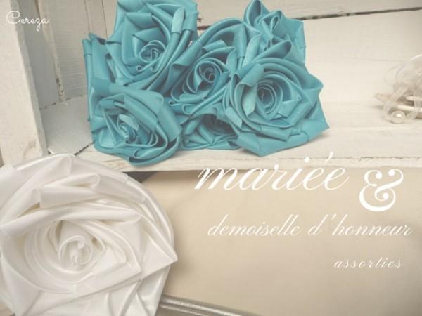 mariage turquoise, blanc et plumes cereza