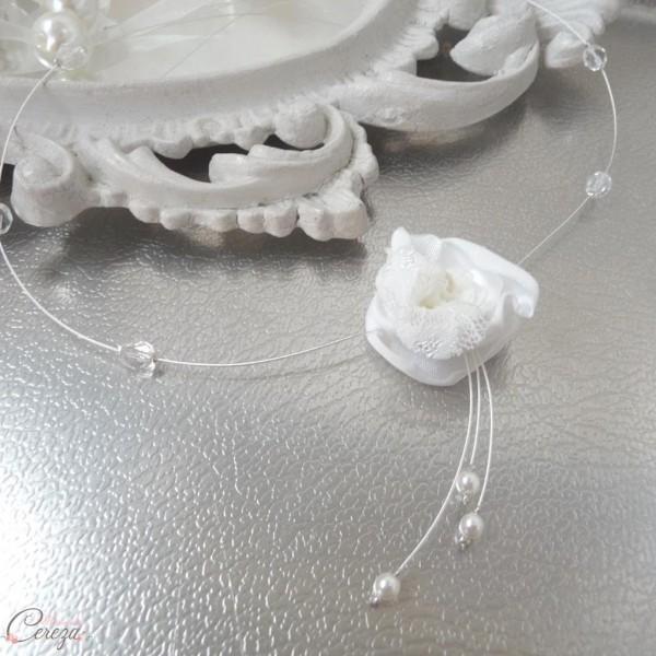collier bijou mariage perle cristal fleur dentelle délicate personnalisable cereza 5