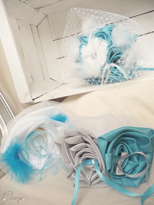 accessoires mariage bleu turquoise blanc gris plumes personnalise cereza