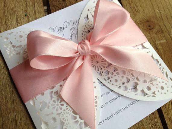 faire part mariage original dentelle noeud ivoire rose Mademoiselle Cereza blog mariage